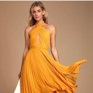 Lulus Pleated Halter Midi Dress